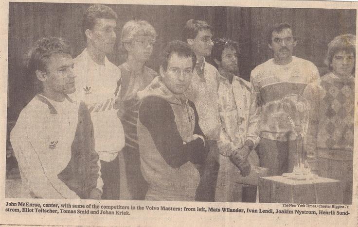 #throwbackthursday New York Times - Volvo Masters 1984 Standing from left to right: Mats Wilander, Ivan Lendl, Joakim Nystrom, John McEnroe, Henrik Sundstrom, Eliot Teltscher, Tomas Smid and Johan Kriek #johankriek #kriek #johnmcenroe #mcenroe #ivanlendl #lendl #matswilander #wilander #tomassmid #smid #joakimnystrom #nystrom #masters #volvomasters #tennis #atp #atptour