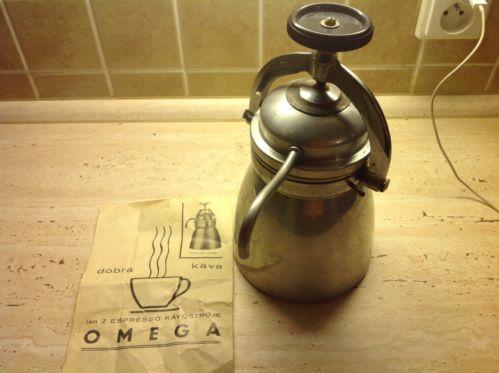 Caffettiera In allumini marca Omega anni 40  con foglio illustrativo originaleAttrezzi da cucina - 109640