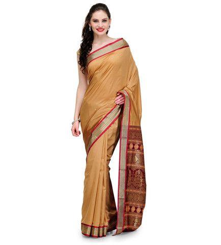 Beige Jacquard Bomkai Art Silk Saree | Fabroop USA | Store for Trendy Sarees