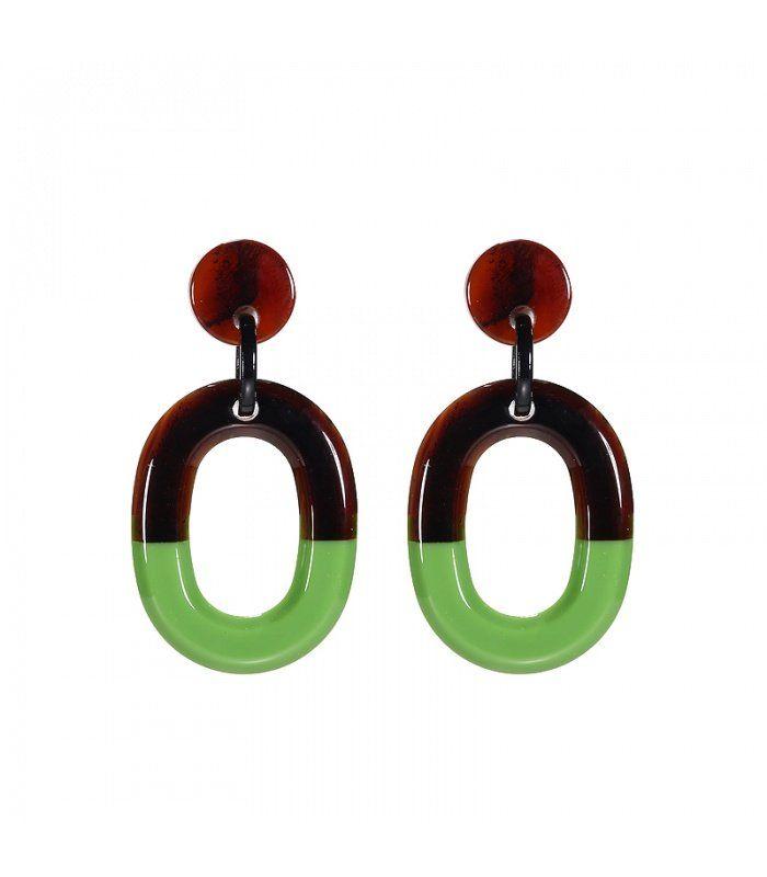 Mooie groene oorbellen met ovale hanger|Mooie oorbellen koop je bij yehwang | Yehwang fashion en sieraden