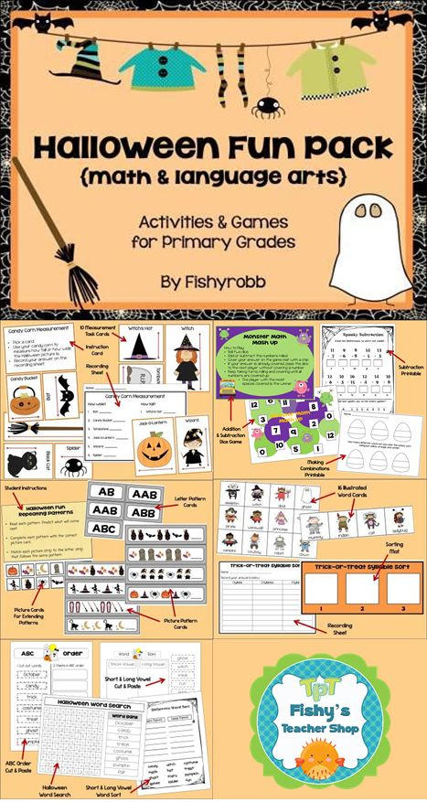 9 Halloween-themed Math & Literacy Centers for Primary Grades
