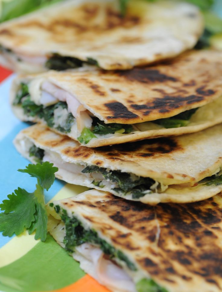 Quick Curly Spinach and Salmon Quesadillas | Cut 'N Clean