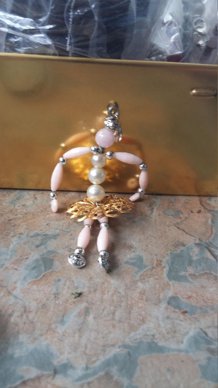 Large bead ballerina handcrafted key/phone/bag/zipper charm/pendant/dangle by SpryHandcrafted on Etsy