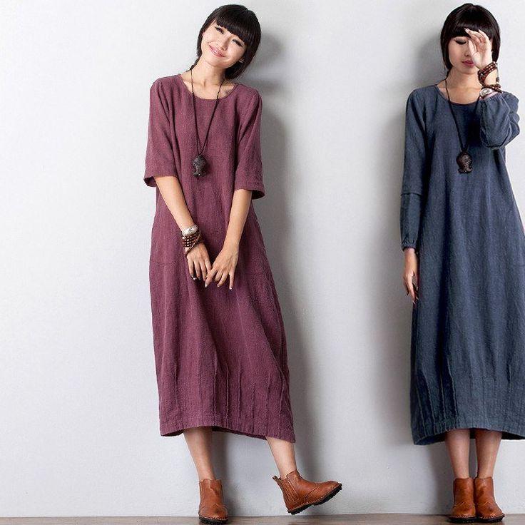 Women linen long sleeve dress - 2XL(Fit for EU 50-52,US20-22,UK24-26) / Blue