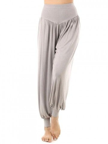 Gorgeous Calientes sueltos color puro ancho elástico de la pierna larga Harem danza de la yoga de los pantalones - NewChic
