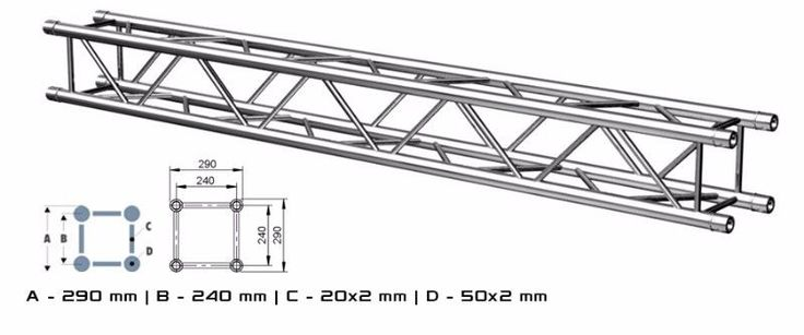 """ALUSTAGE QUAD 290 TRUSS also available in 2,3,and 4 m lengths.System 290A is made of main tube 50x2mm and braces 20x2mm. It has got SZ02.10 connection.Thanks to their spatial design, the aluminium trusses look attractive and are very strong. They can be arranged in different ways and are successfully used as elements of stage roofs, trade fair structures, exposition structures, big screen structures, LED display screen and projection screen support frames, lighting """"gates"""" and sound """"gates""""…"""