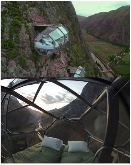 Why settle for standard hotel bed when you can dangle precariously from a thread over a cliff instead!  Skylodge transparent pods – Sacred Valley Peru.