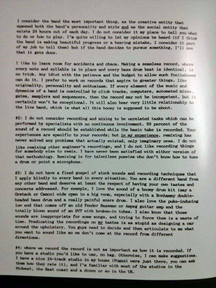 In Utero prdoucer Steve Albini letter to
