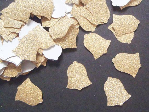 bell confetti gold glitter christmas in july cij  church paper wedding baby shower party favor table decor invitation lasoffittadiste