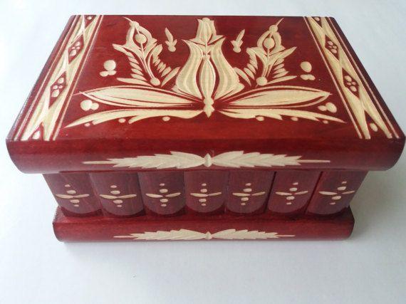 Neue große schöne Rot Premium handgeschnitzt, handgefertigte Holzpuzzle Box, Geheimschachtel, Zauberkiste, Schmuckkästchen, Denksport, Aufbewahrungsbox, Blumenkasten