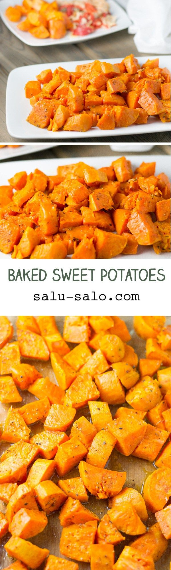These baked sweet potatoes are easy to prepare and make. The yam is coated with olive oil, oregano, salt and pepper and then baked in the oven for an hour.