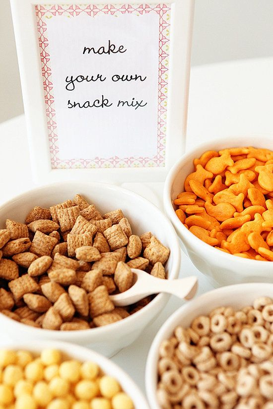 Make Your Own Snack Mix: The beauty of this approach to snackables? Virtually no work for mom. Let the kids make their own party food magic. Source: 100 Layer Cakelet