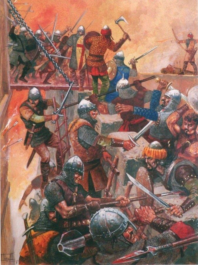 Los hombres de Godofredo de Bouillon asaltan Jerusalén, cortesía de Justo Jimeno. Más en www.elgrancapitan.org/foro