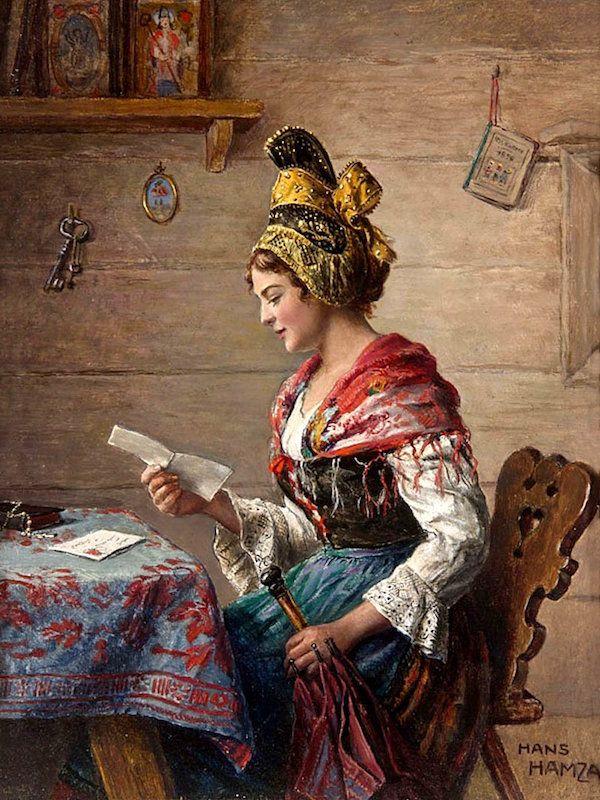 Wie wird die alpenländische Tracht in der Kunst dargestellt?