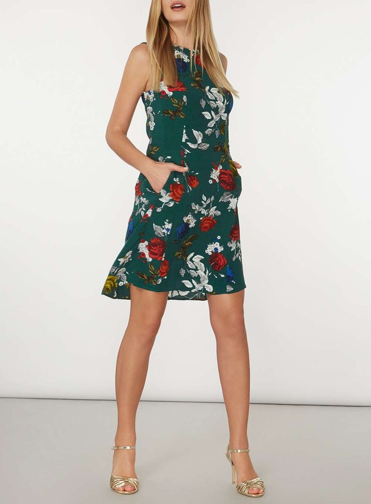 Womens Green Rose Print Fit And Flare Dress- Green