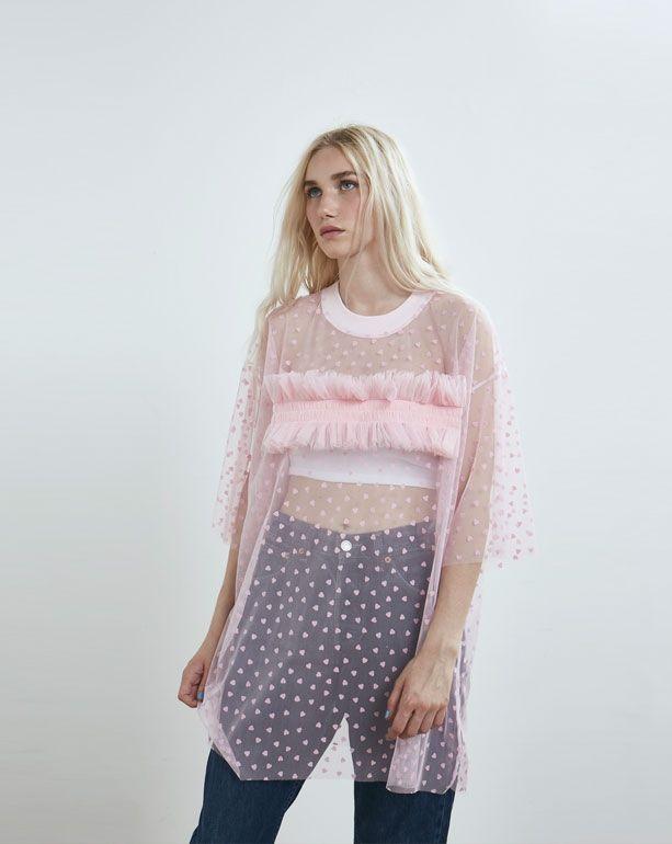 Somewhere Nowhere Pink Heart Mesh Ruffle T-shirt Dress