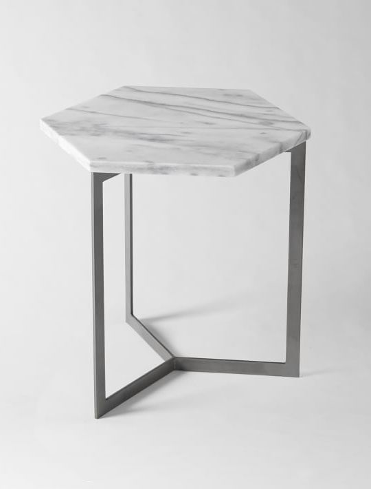 Hex Side Table Marble Top Side Table Marble Side Tables Steel