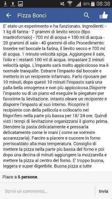 Pizza bonci con bimby. Ricetta convertita PM Liquida 100% gr. 75 Farina gr. 963 / Liquidi gr. 763