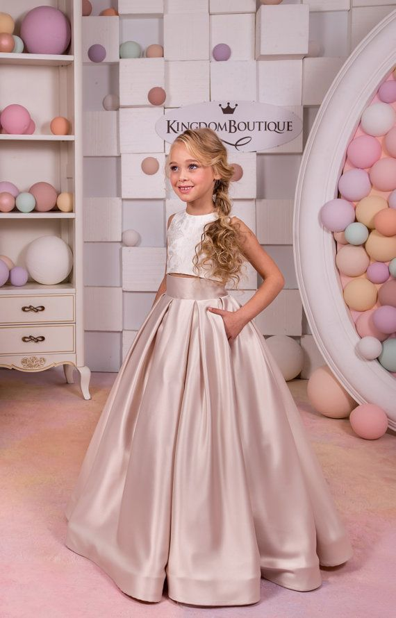Ivory Cappuccino Lace Satin Flower Girl Dress - Wedding Party  Holiday Birthday Bridesmaid Flower Girl Blush Satin Lace Dress 15-047