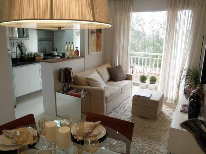 Sala de estar peque a junto a cocina home en 2019 for Cocinas modernas para apartamentos pequenos