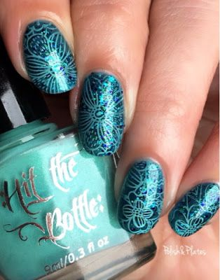 Polish & Plates: UberChic Beauty - Collection 9. I love this blue floral nail art! You can get a look just like this with UberChic Beauty nail stamping plates! Nail art is easy and fun!