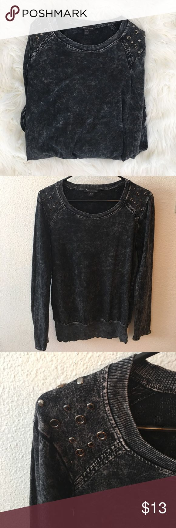 Black studded sweater Black acid wash sweater with metal stud details on the shoulders, worn twice. Sweaters Crew & Scoop Necks
