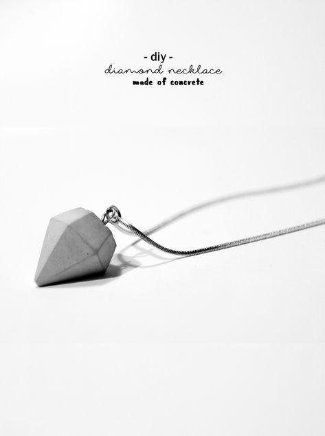 DIY Beton Diamant Kette | Do it yourself Schmuck | handmade jewelry | DIY Deko | Geschenk | Geschenkidee | diamond necklace made of concrete | Design | fashion | Accessoire | chain | gift idea | crafting | selbsgemacht