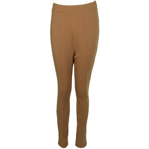 Boohoo Valencia Seam Front High Waist Crepe Leggings (€6,88) ❤ liked on Polyvore featuring pants, leggings, sport leggings, high waisted stretch pants, high waisted wide leg trousers, high-waisted pants and high waisted palazzo pants