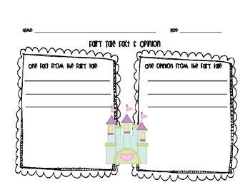 This is a fact and opinion page that can be used in response to any fairy tale text.