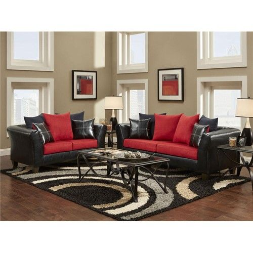 Red+and+Black+Tables | Delta Furniture Manufacturing Cardinal Red and Black Living Room ...