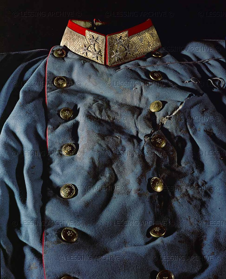 Uniform coat worn by Archduke Franz Ferdinand on the day of his assassination in Sarajevo, June 28, 1914. His morganatic wife, Duchess Sophie Hohenberg, died with him. The assassination by Gavrilo Princip, a young Serbian, brought about the First World War.: Assassination 100Th, History, Franz Ferdinand, Archduk Franz, 100Th Anniversaries, Blood Soaking Uniforms, Bloodstain Coats, 1914, Assassins 100Th