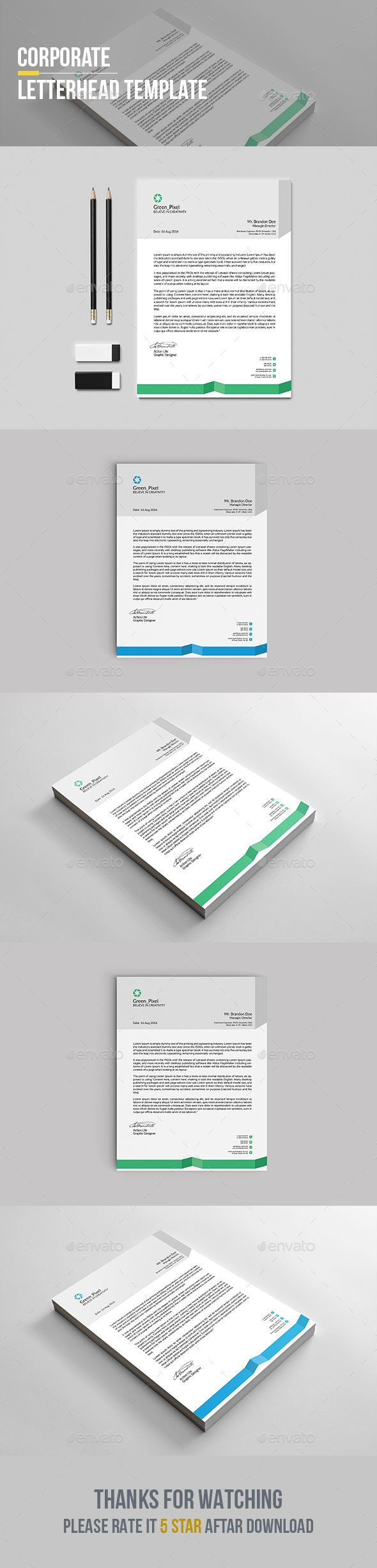#Letterhead Template - Stationery Print #Templates Download here: https://graphicriver.net/item/letterhead-template/19391812?ref=alena994