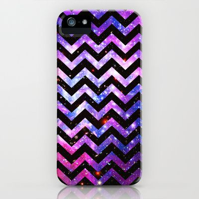 Girly Chevron Pattern Cute Pink Teal Nebula Galaxy iPhone Case by Girly Trend - $35.00