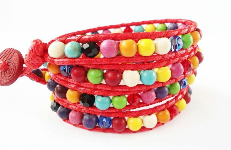 Kolorowa Długa bransoletka zawijana Howlit w Handmade By Asiek na DaWanda.com