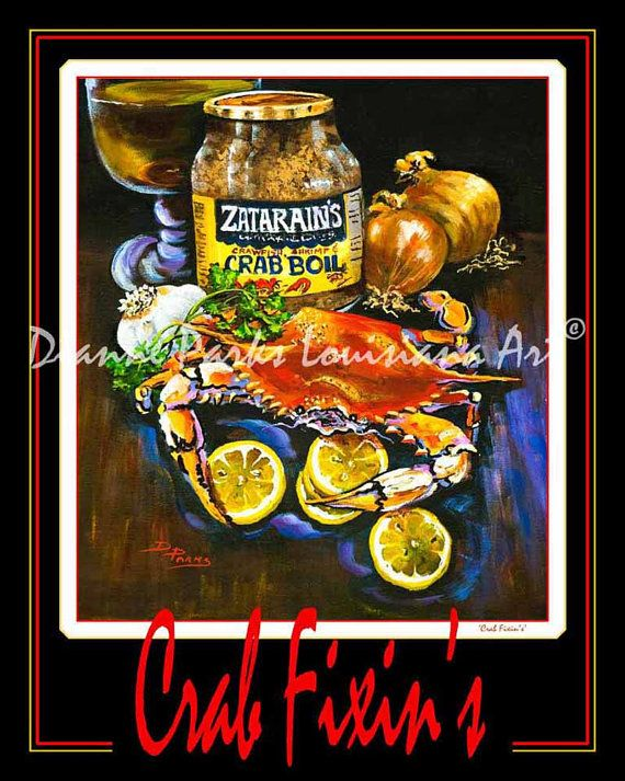 Crab Fixin's! Art Poster FREE SHIPPING! Boiled Crab, Zatarain Crab Boil, Louisiana Crab Seafood, New Orleans Art Print on Paper or Metal