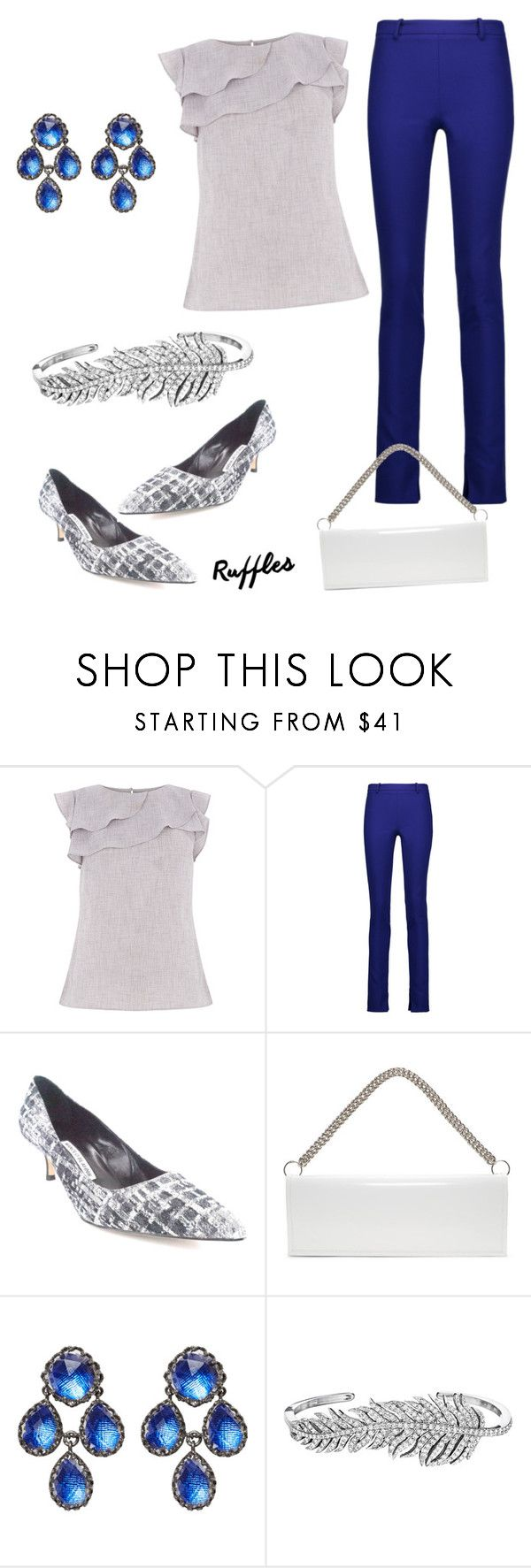 """Untitled #362"" by wallaceschade ❤ liked on Polyvore featuring Roland Mouret, Manolo Blahnik, Vetements, Larkspur & Hawk and Penny Preville"