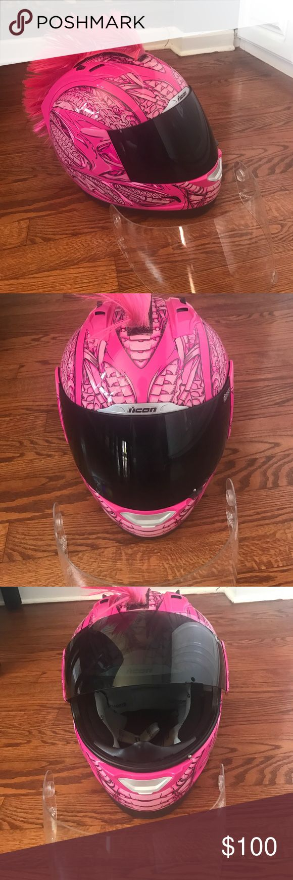 Women Motorcycle Helmet Barely used. Womens Icon motorcycle helmet. Super girly! Hot pink with removable pink mohawk! Size XL ICON Accessories