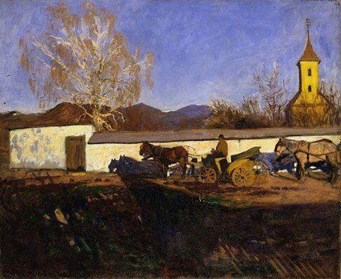 Karoly Ferenczy: Evening in March, 1902 (FERENCZY KÁROLY (1862-1917): MÁRCIUSI EST, 1902) A márciusi napsugárzás mindent színesebbé tevő alkonyi fényjátékai keverednek a hosszan elnyúló árnyékú sötét tónusokkal… a fény-árnyék kompozíció remeke…