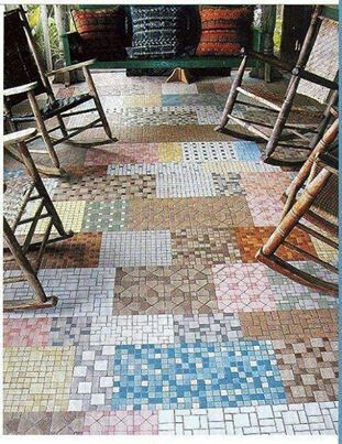 Love this tiled patchwork porch.Sharing this idea fromSun Baked Treasures. Awesome way to have a mosaic tiled floor at bargain prices -- just buy the leftover samples and broken/incomplete 12-bys.