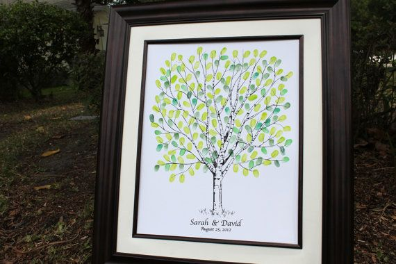 Wedding Gift Hand drawn Wedding Guest book Fingerprint Tree, Guest book alternative, Hand drawn sketched wedding tree for up to 180 guests