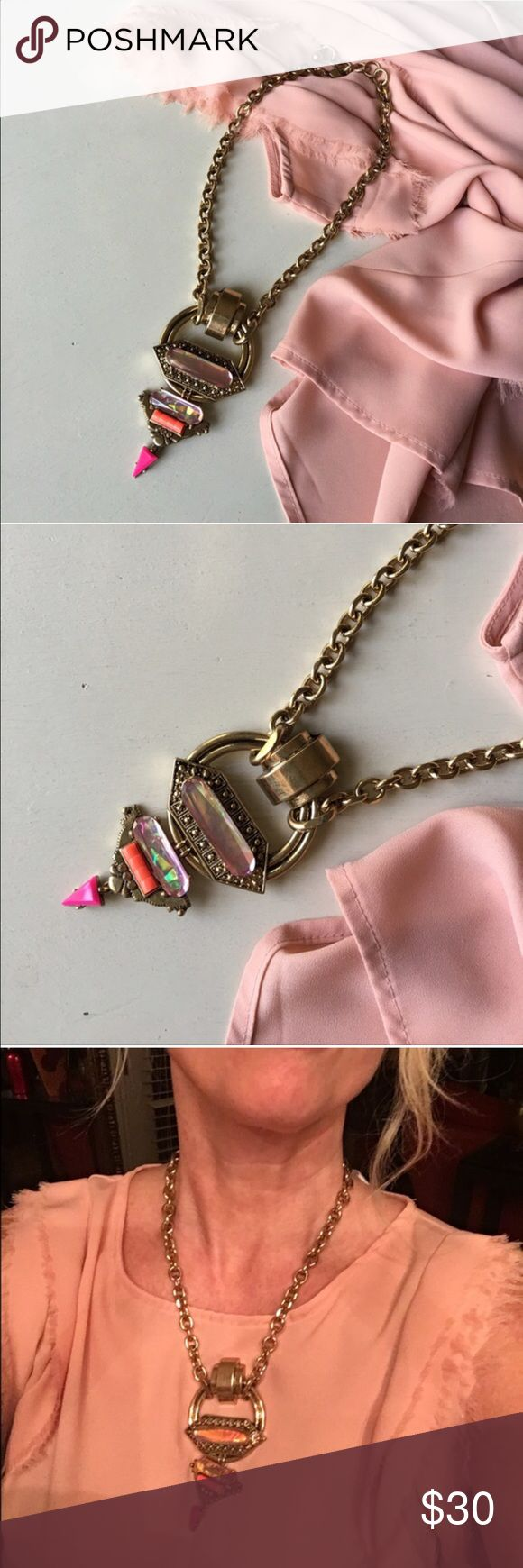 {The Rihanna}Gold Chain + Pink Gem Statement Gorgeous customer 5favorite!  ✨✨{The Rhianna} Gold chain + pink gem statement necklace. ✨Bold pop princess persona ✨Iridescent pink glass beads on a thick gold chain✨Punk meets pretty✨✨✨ Ask me to create a custom bundle of 3 or more items for the best pricing ✨✨Restocked! ✨Go for it! ✨ Jewelry Necklaces
