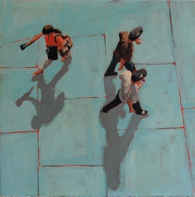 "Artist Sara Caracristi ""Blue Tiles"" Unique perspective and love the touch of color peeking through."