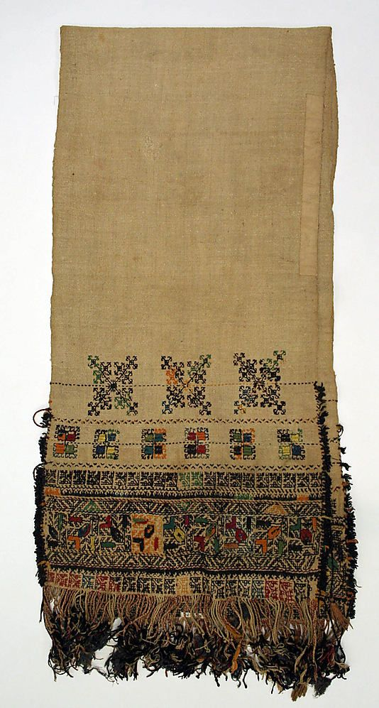 Scarf , 1890–1925 , Greek linen, wool. Probably a waist band, used by women.