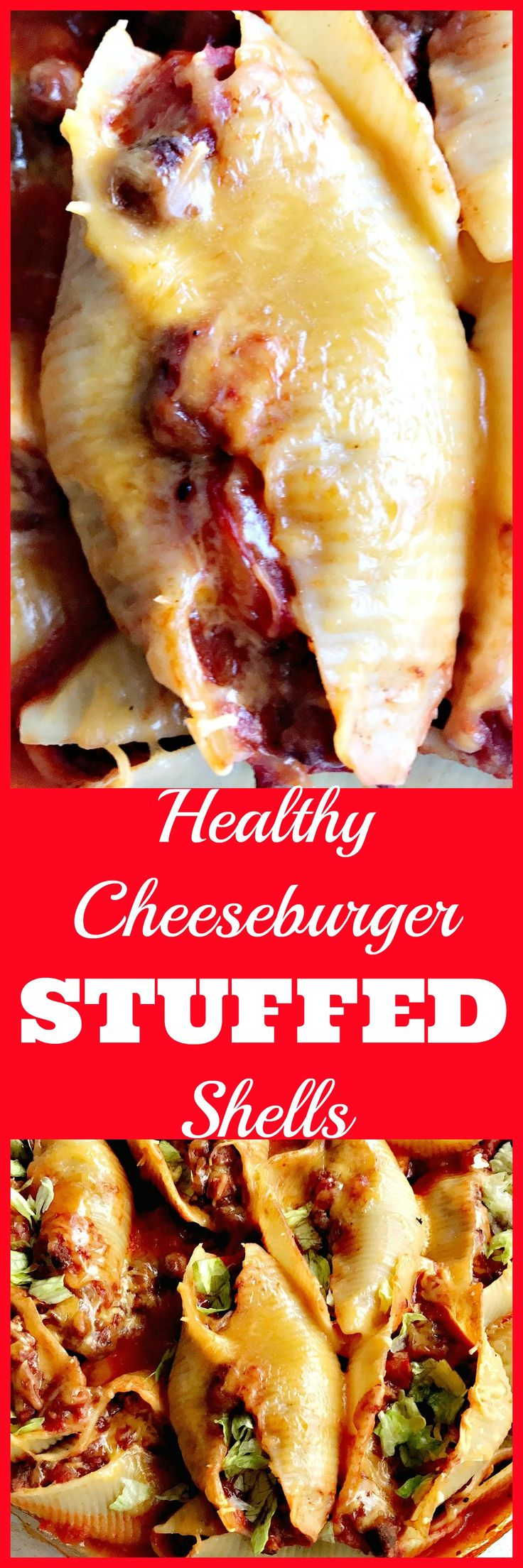 Healthy, skinny, lightened-up cheeseburger stuffed shells with tomato meat sauce, mustard seasoning, lettuce, and cheese.