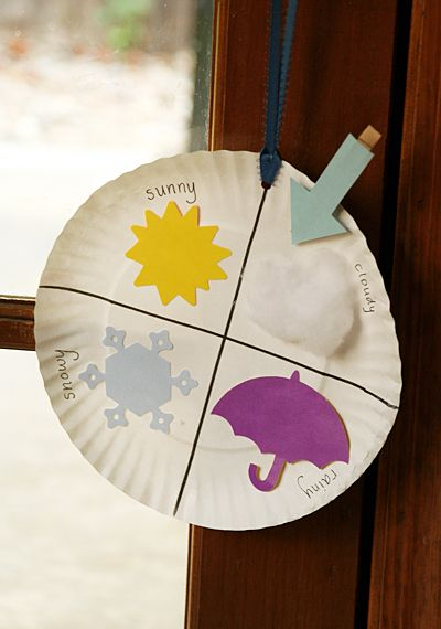 paper plate weather chart - love this idea to teach kids about weather