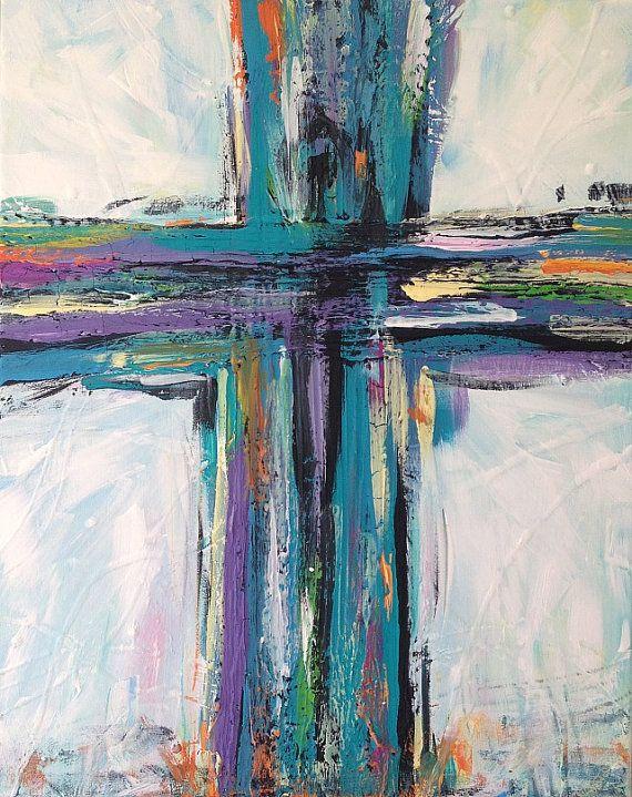 Abstract Cross Painting Aqua Teal Black Purple by TracyHallArt, £70.57