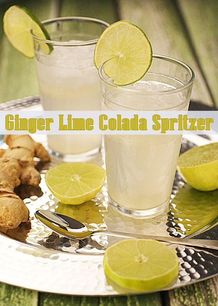 Party organically with a Ginger Lime Colada Spritzer at This Mama Cooks! On a Diet - thismamacooks.com