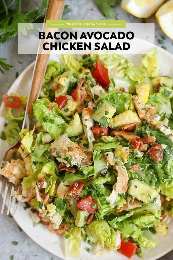 Chicken Bacon Avocado Chopped Salad With Lemon Vinaigrette