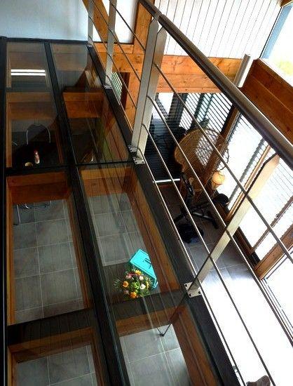 mezzanine en plancher verre avec garde corps inox planchers verre pinterest garde corps. Black Bedroom Furniture Sets. Home Design Ideas