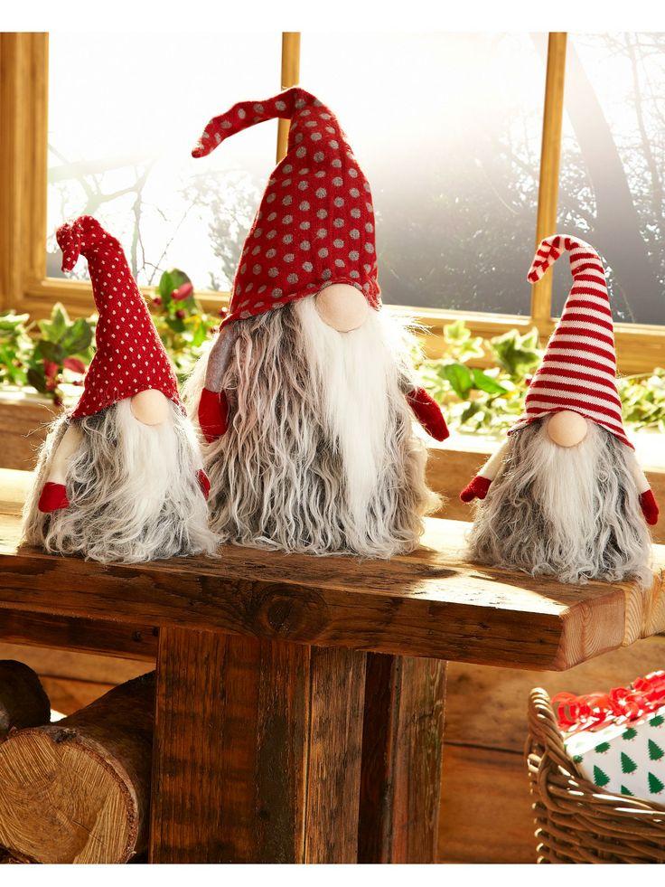 Small Santa 'Gonk' Christmas Doorstop/Decoration - Stripey Hat Littlewoods.com